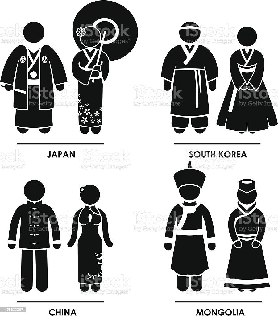 East Asia Clothing Costume Pictogram royalty-free stock vector art