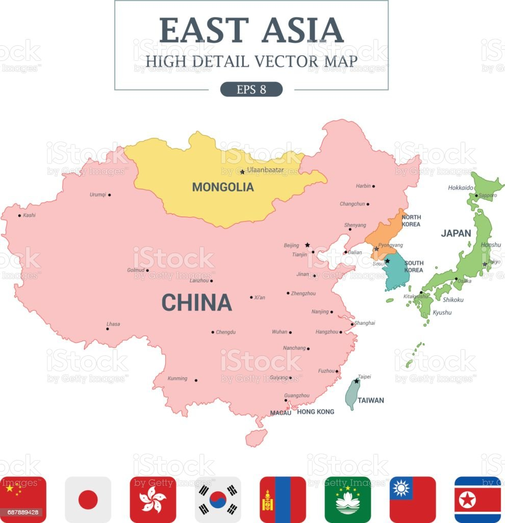 A Map Of East Asia.East Asia Map Full Color High Detail Separated All Countries Vector
