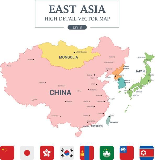 東アジア地図における色高詳細分離ベクトル図のすべての国 - アジア点のイラスト素材/クリップアート素材/マンガ素材/アイコン素材