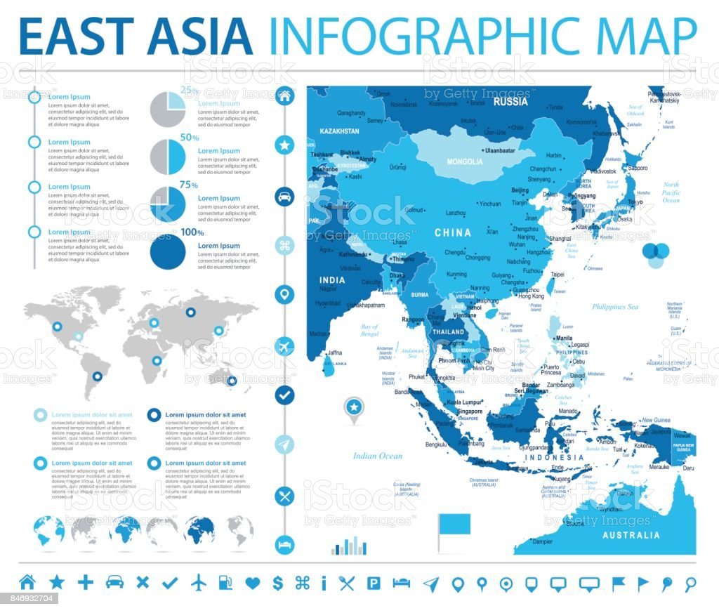 east asia map info graphic vector illustration royalty free east asia map info graphic