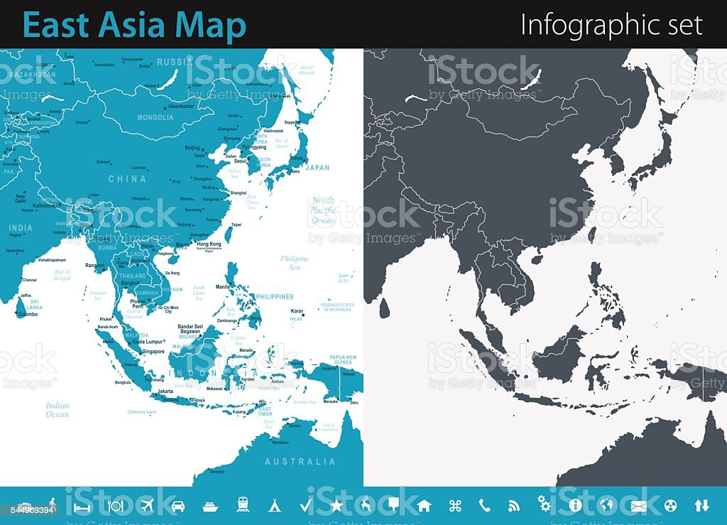 East Asia Map Infographic Set Stock Vector Art & More Images Of Asia 544969394