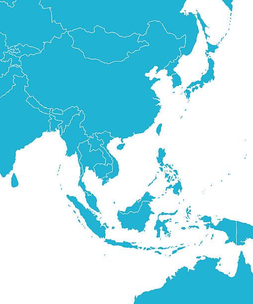 stockillustraties, clipart, cartoons en iconen met east asia map - zuidoost azië
