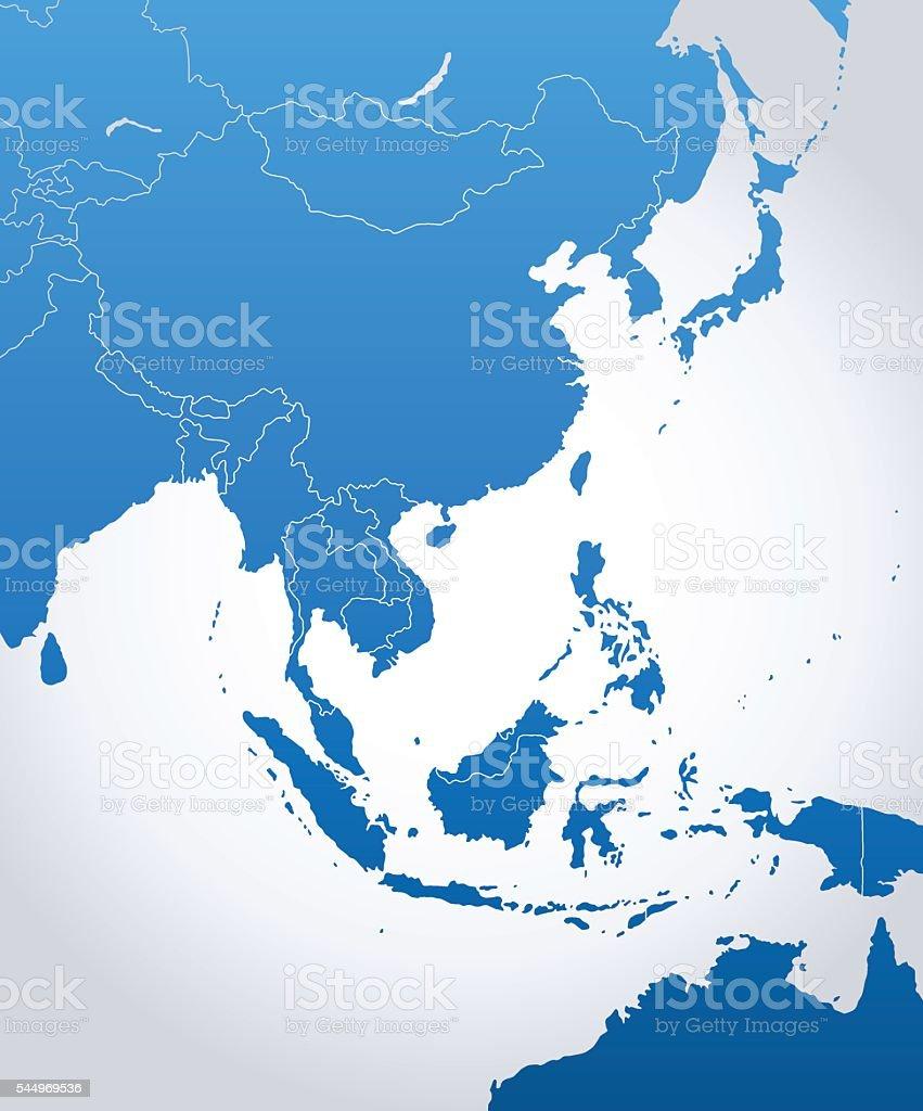 East Asia Map vector art illustration