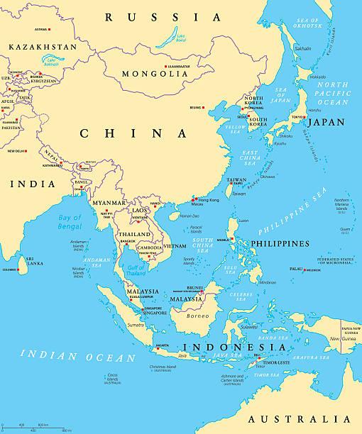 east asia political map - アジア地図点のイラスト素材/クリップアート素材/マンガ素材/アイコン素材