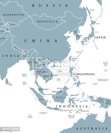 East Asia political map with countries and borders. Eastern subregion of the Asian continent with China, Japan, Mongolia and Indonesia. English labeling. Gray illustration on white background. Vector.
