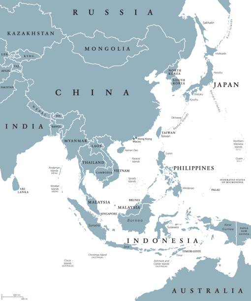 politische karte von ostasien - insel taiwan stock-grafiken, -clipart, -cartoons und -symbole