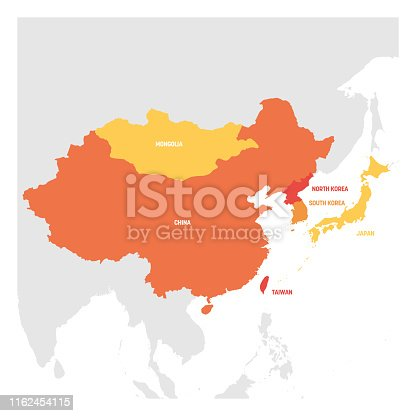 East Asia Region. Map of countries in eastern Asia. Vector illustration.