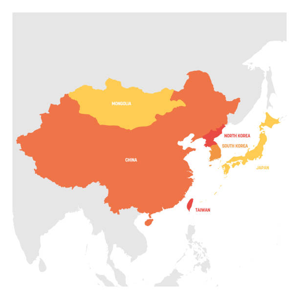 ostasien. karte der länder in ostasien. vektor-illustration - insel taiwan stock-grafiken, -clipart, -cartoons und -symbole
