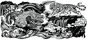 Chinese East Asian dragon versus tiger in the landscape with waterfall and water waves . Two spiritual creatures in the Buddhism representing the spirit heaven and matter earth. Black and white graphic style vector illustration