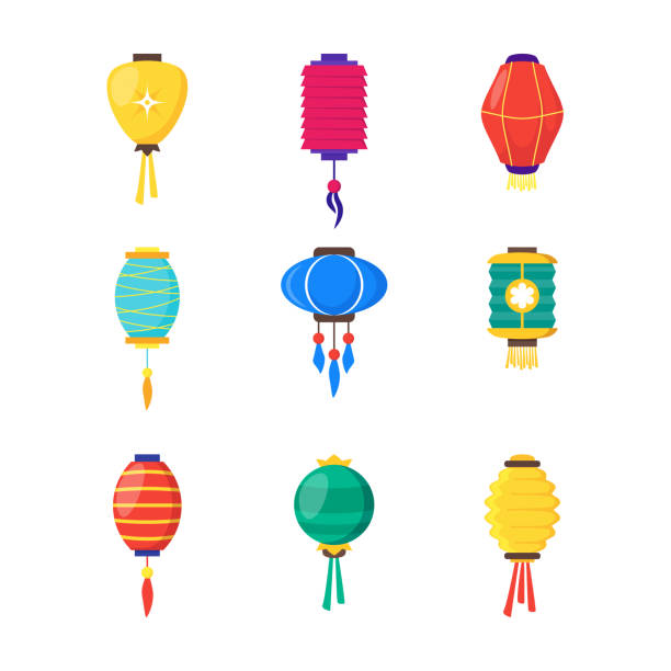 East Chinese Paper Street or House Lanterns Set. Vector East Chinese Paper Street or House Color Lanterns Set Decoration Ethnicity Hanging Lamp Illuminated. Vector illustration of China Lantern lantern stock illustrations
