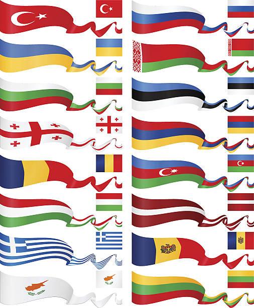 ilustraciones, imágenes clip art, dibujos animados e iconos de stock de este de europa bandera colección de banners - bandera rusa