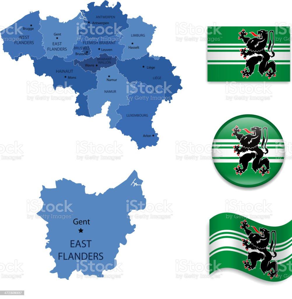 East Flanders province set royalty-free stock vector art