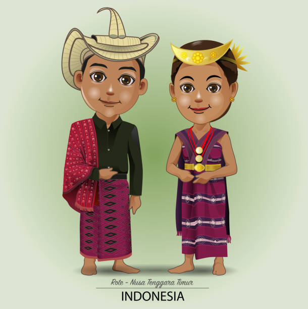 East Nusa Tenggara Traditional cloth Vector illustration. traditional clothing of the Rote tribe, East Nusa Tenggara lagbok stock illustrations