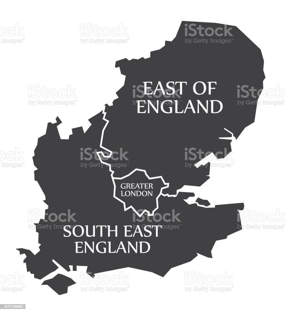 East of England - Greater London - South East England Map UK illustration vector art illustration