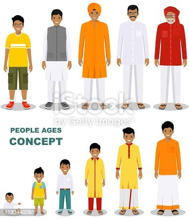 Family and social concept. All age group of Indian man family. Generations man. Stages of development people - infancy, childhood, youth, maturity, old age.
