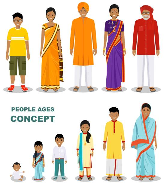 East people generations at different ages isolated on white background in flat style. Indian man and woman aging. Baby, child, teenager, young, adult, old people. Vector illustration. Family and social concept. All age group of Indian man and woman. Generations man. Stages of development people - infancy, childhood, youth, maturity, old age. indian family stock illustrations