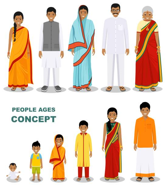 East people generations at different ages isolated on white background in flat style. Indian man and woman aging: baby, child, teenager, young, adult, old people. Vector illustration. Family and social concept. All age group of Indian man and woman. Generations man. Stages of development people - infancy, childhood, youth, maturity, old age. indian family stock illustrations