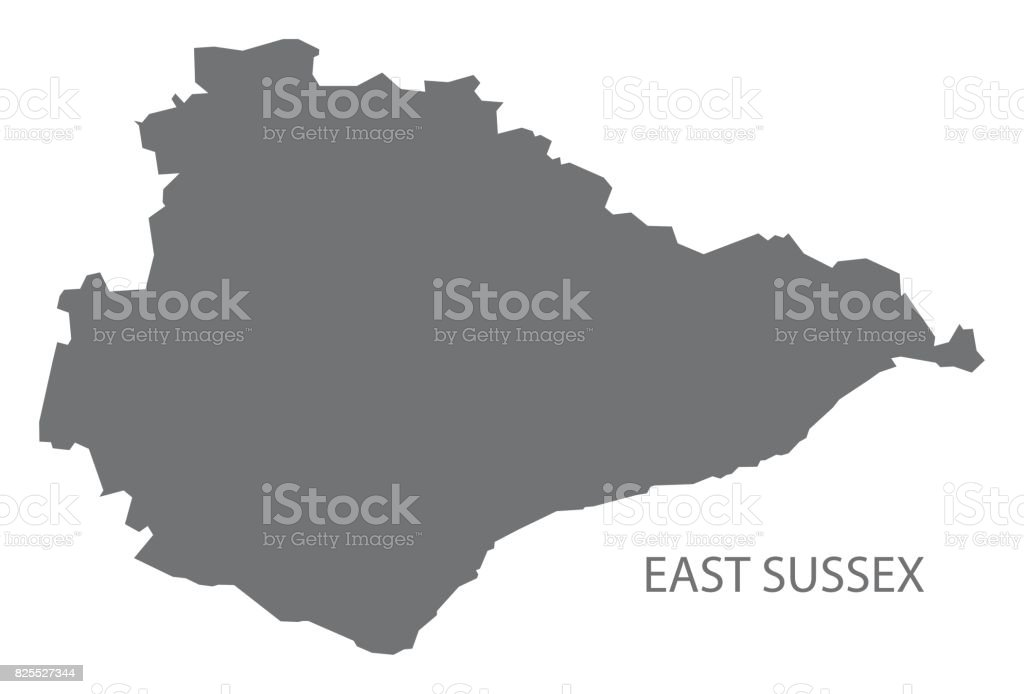 County Map Of England.East Sussex County Map England Uk Grey Illustration Silhouette Shape Stock Illustration Download Image Now
