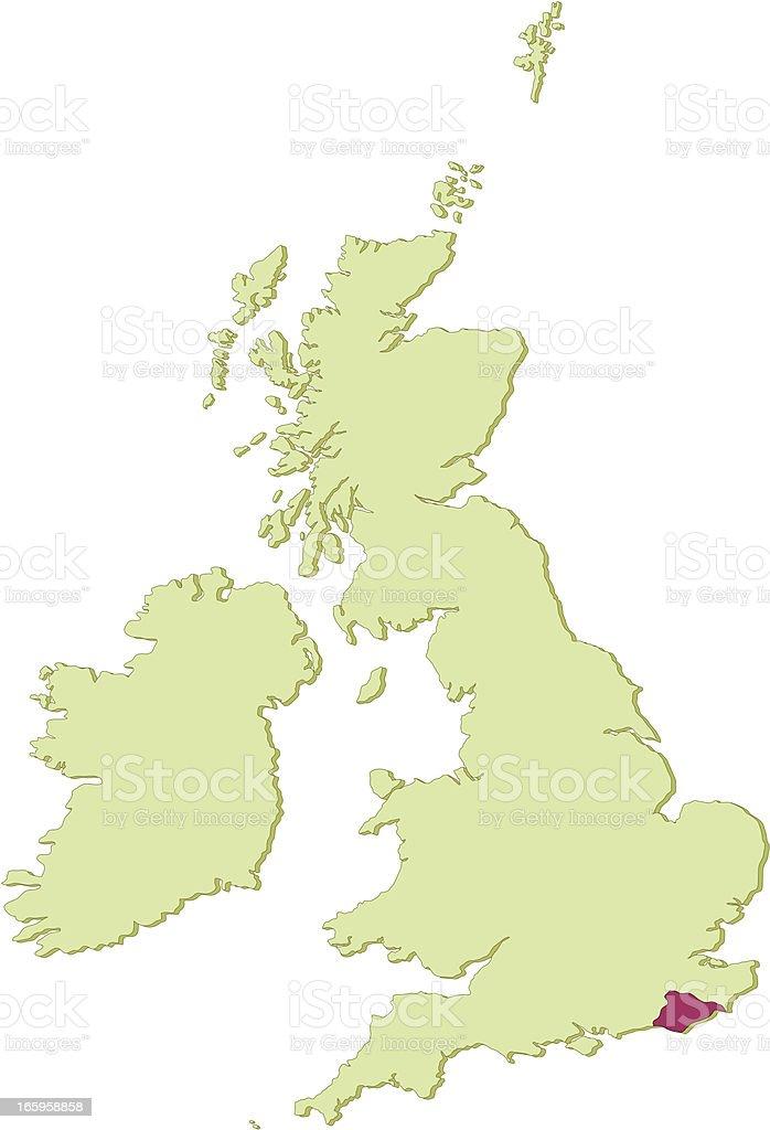 UK East Sussex map vector art illustration