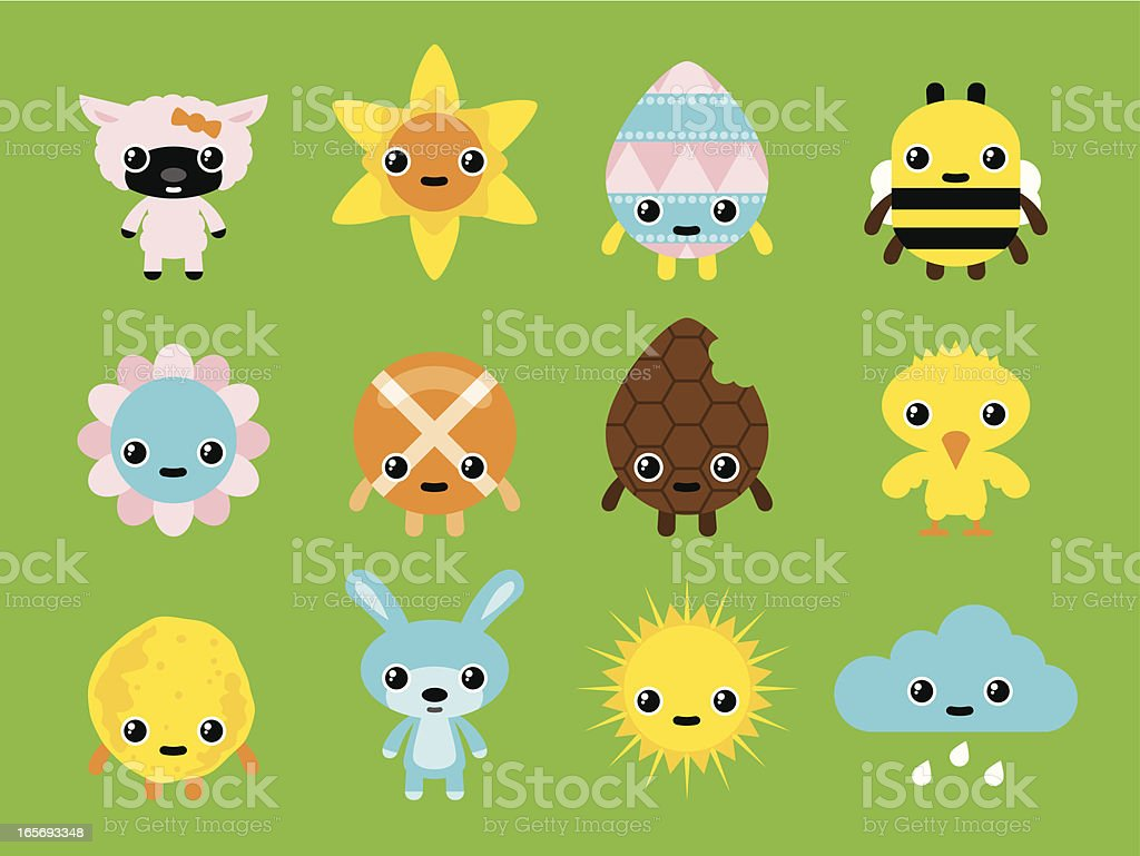 Easter and Spring Characters royalty-free stock vector art