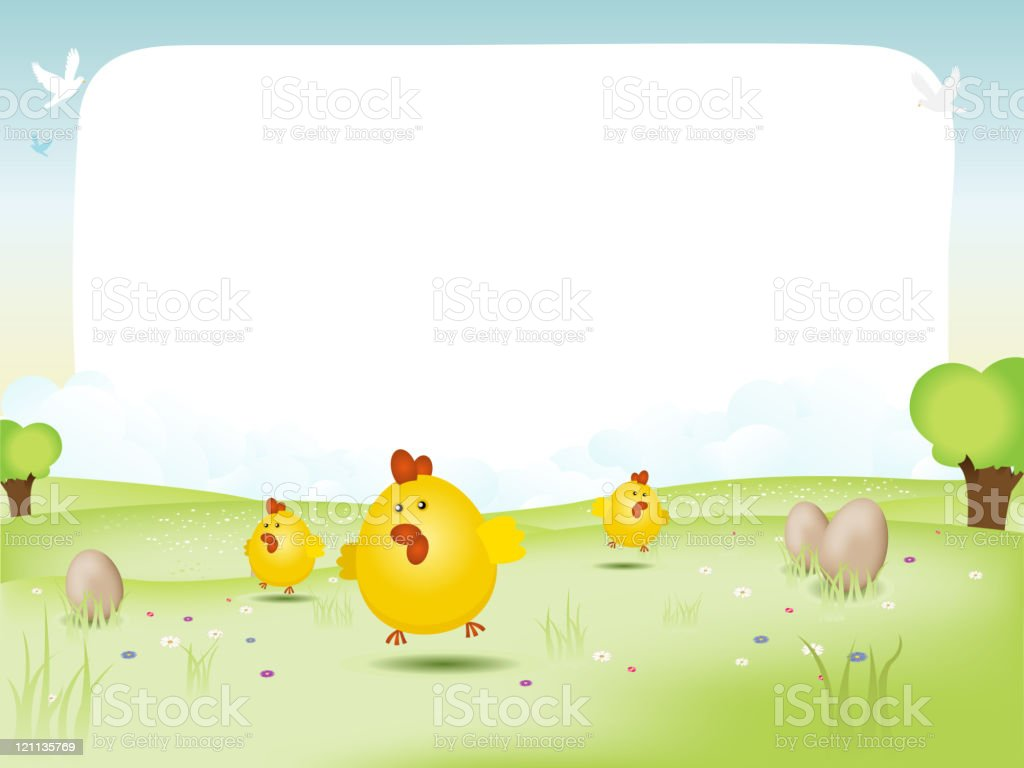 Easter and spring landscape royalty-free stock vector art