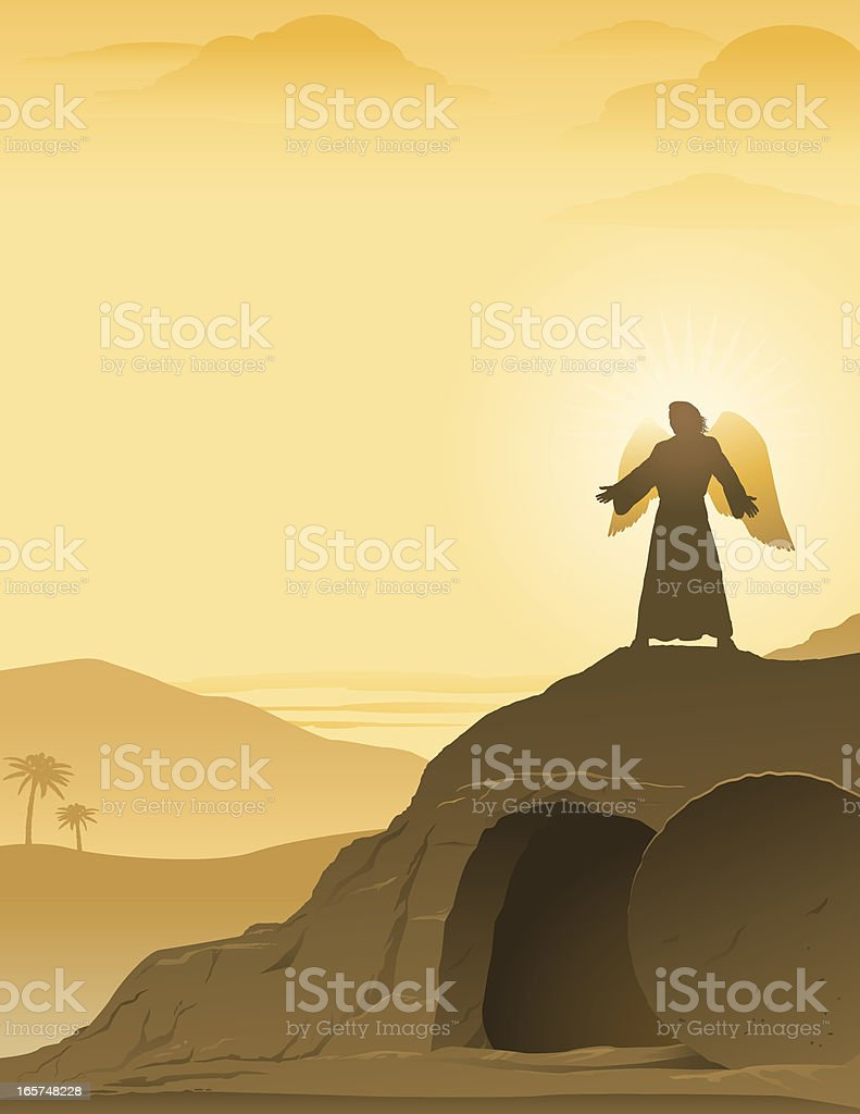 Easter angel above empty tomb royalty-free stock vector art
