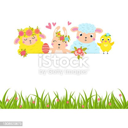 istock Easter animals border with place for your text. 1308520673