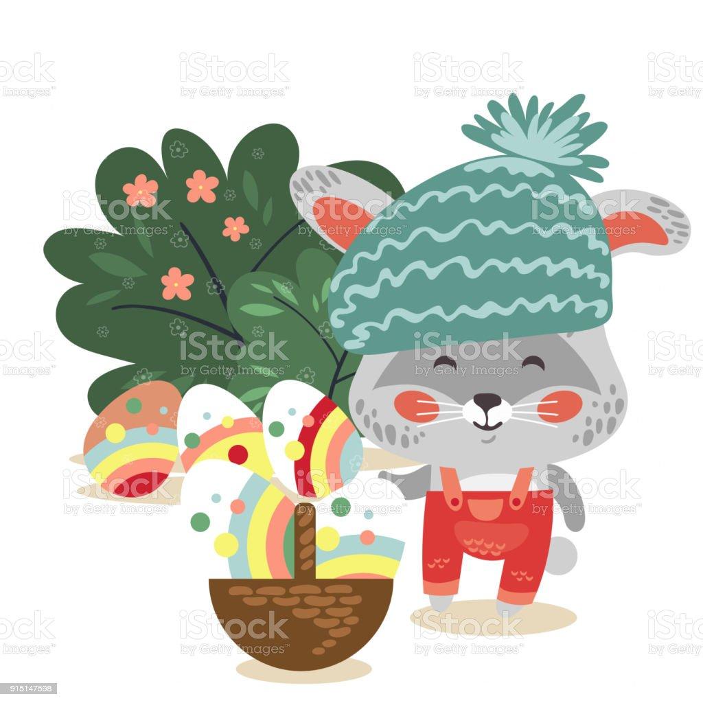 Ilustración de El Conejito De Pascua Bebé Sombrero Y Mono Con Cesta ...