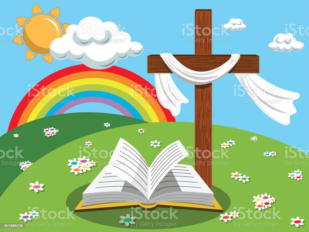 easter background cross open bible gospel meadow stock