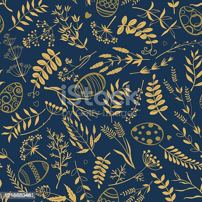 istock Easter background. Easter eggs, twigs, herbs and flowers on dark blue background. 1215680481