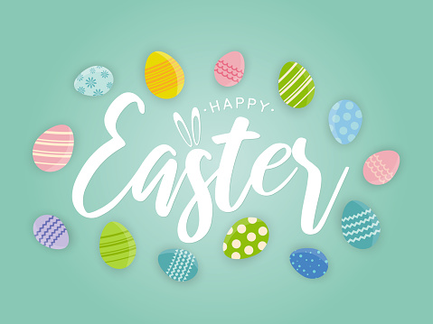 Easter background poster with colorful easter eggs. Vector