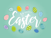 istock Easter background poster with colorful easter eggs. Vector 1214979327