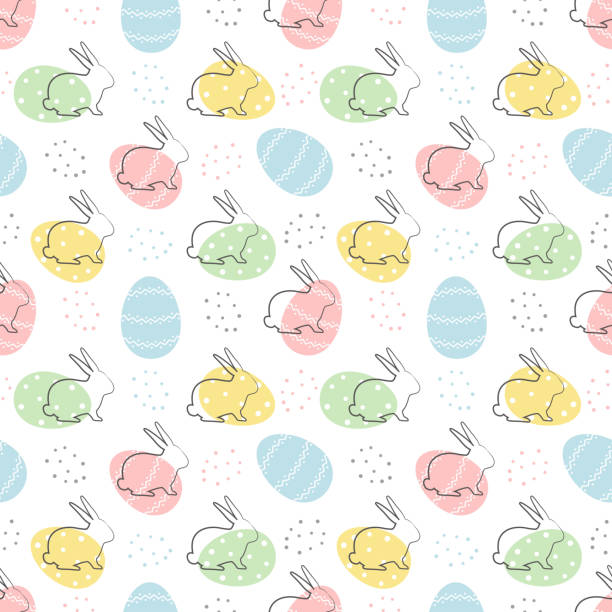 Easter background. Seamless abstract pattern with Easter bunnies and eggs on a white background vector art illustration