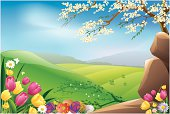 Illustration of beautiful Easter background, all elements are individual objects, used simple gradient colors, No transparencies. Hi res jpeg included. User can edit easily, Please view my profile.
