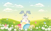 vector illustration of Easter bunny  with eggs