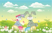 vector illustration of Easter background with rabbits in love