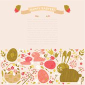 "Easter bunnies, basket with flower, Easter eggs and flowers with ""Happy Easter!"" message. Vector. EPS 8."
