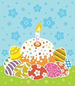 Easter background with cake and eggs