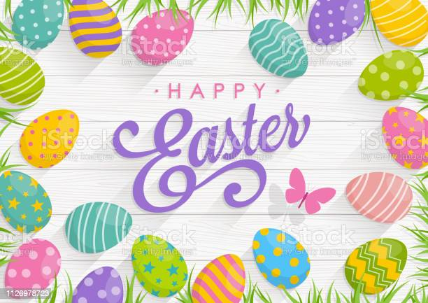 Easter background with colorful eggs on wood background with text vector id1126978723?b=1&k=6&m=1126978723&s=612x612&h=a5nslrlwaekuzyfrcedcdg ad6ca2essxeznfeqfsa0=
