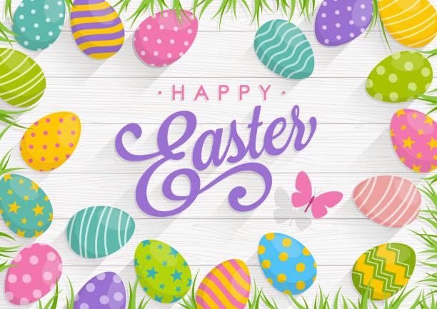 행복 한 부활절 텍스트와 나무 배경에 다채로운 계란 부활절 배경 - 부활절 달걀 stock illustrations
