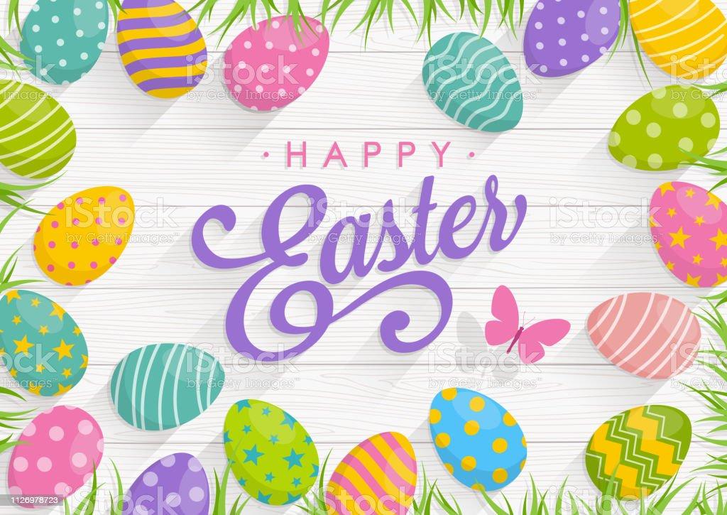Fond de Pâques avec des oeufs colorés sur fond bois avec texte joyeuses Pâques - Illustration vectorielle