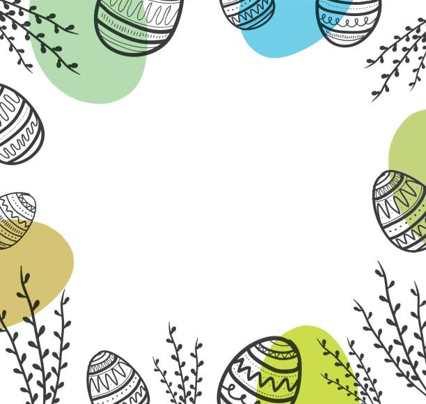Easter background with eggs and flower. vector art illustration