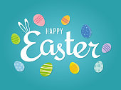 Easter background with eggs on blue background. Vector illustration. EPS10