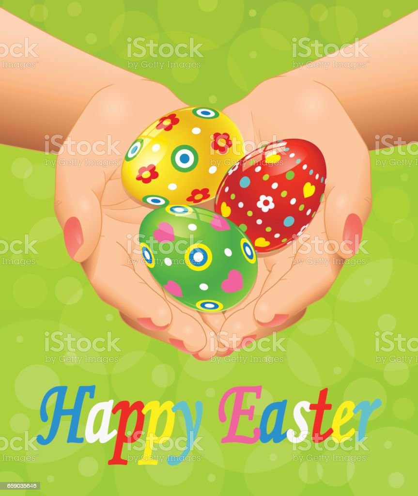 Easter background with hands and Easter eggs royalty-free easter background with hands and easter eggs stock vector art & more images of adult
