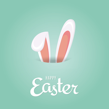 Easter background with rabbit ears. Vector