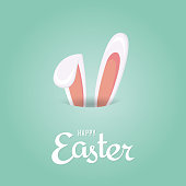 Easter background with rabbit ears. Vector illustration. EPS10