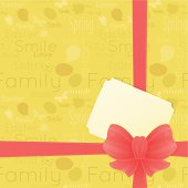 Easter background with red bow and gift card. Vector. EPS 8.