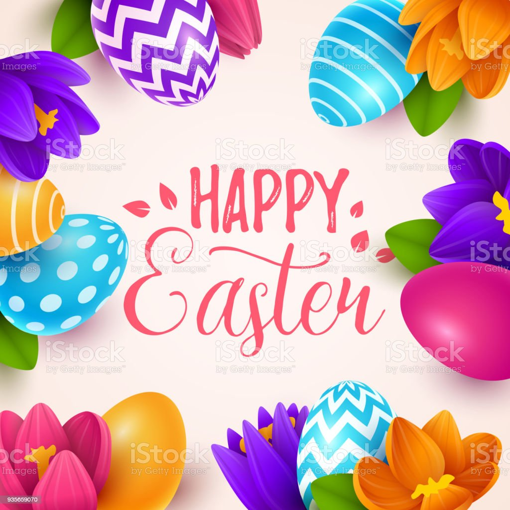 Easter Background With Spring Flowers And Eggs Stock Vector Art