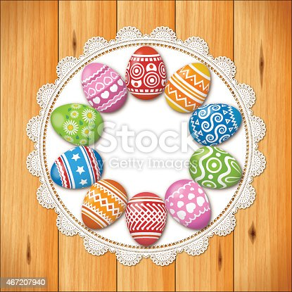 istock Easter background[Eggs and boards] 467207940