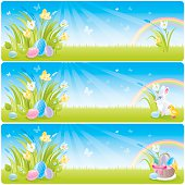Easter banner set with spring flowers and rainbow.